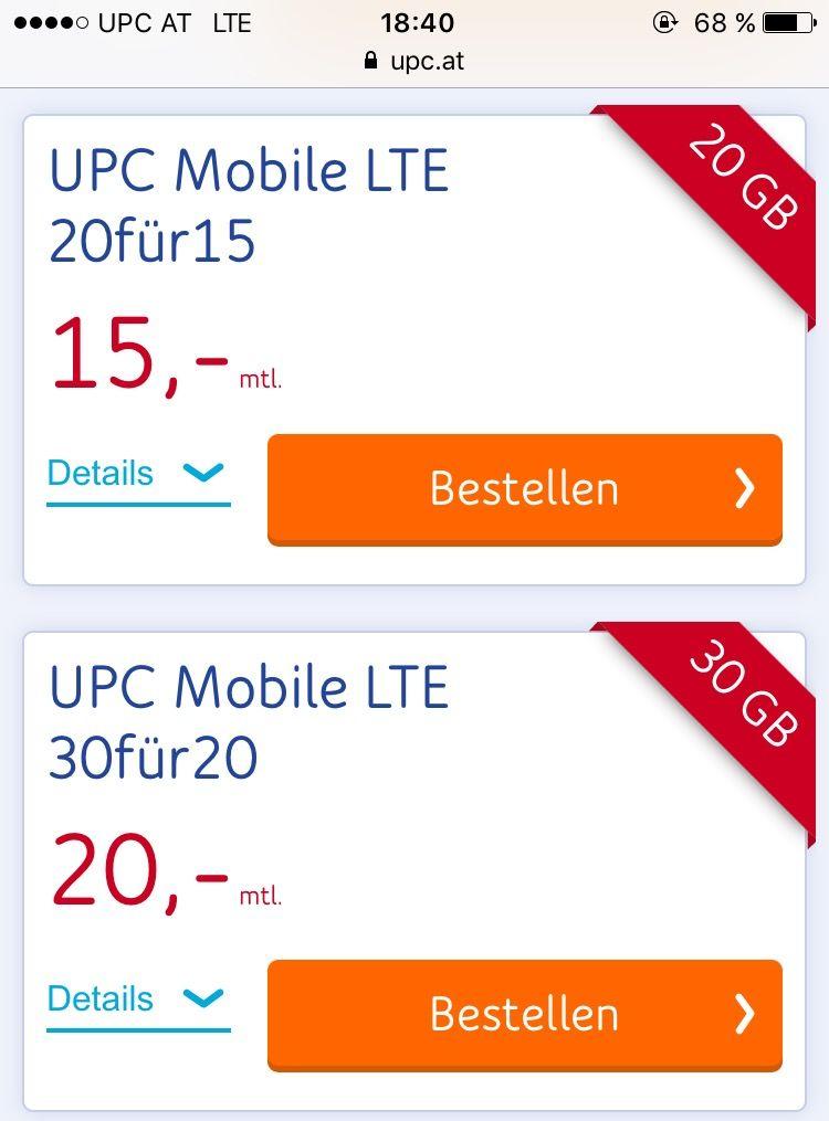 Upc Mobile Neue Tarife Lte Forum österreich