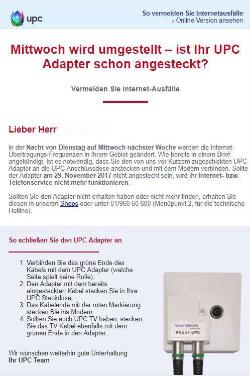 Ab 29.11.2017 neuer Adapter bei UPC notwendig | LTE-Forum Österreich