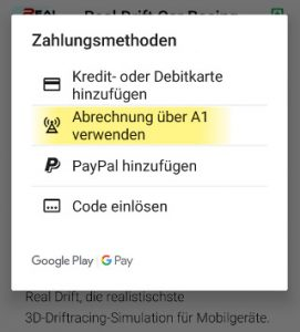 Google Play Store A1 Zahlung