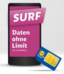 Lidl surf Internettarif Aktion mit bis zu 80 Mbit/s