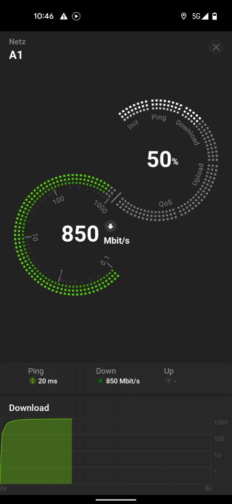 New Radio Speedtest unter Android 12